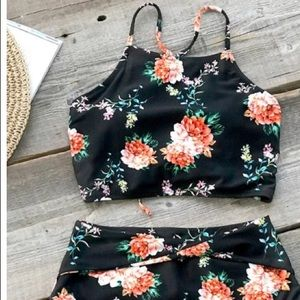 NWT Cupshe Orange Blossom High Waisted Bikini